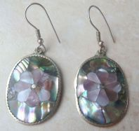 Vintage Handmade Alpaca Silver Shell Inlay Drop Earrings.